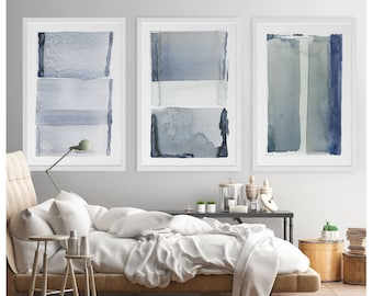 Abstract Painting, Large Abstract Art, Navy Blue Gray Abstract Art, Abstract Art Print, Abstract Painting Print, 3 Piece Wall Art, Set Of 3