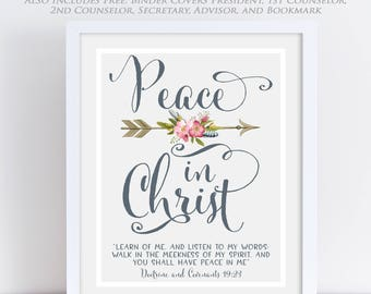 LDS Young Women Theme 2018, Mutual Theme 2018, Doctrine and Covenants 19:23, Peace in Christ, Arrow Floral Watercolor, Printable 2