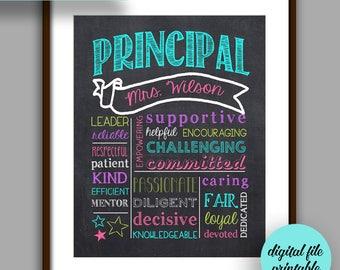 Principal Gift, Principal Chalkboard Printable, Principal Christmas,  Digital File 8x10 JPG File