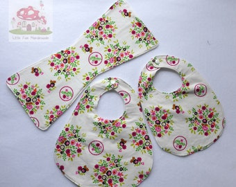 White Flower Bib & Burp Set