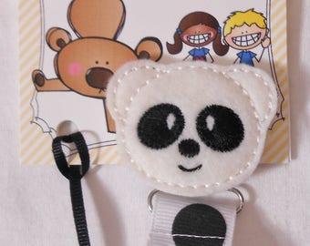 Panda Bear Feltie Pacifier Clip
