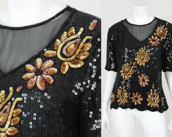 Vintage Sequin Blouse Black Gold Sheer Mesh Size XL Stenay