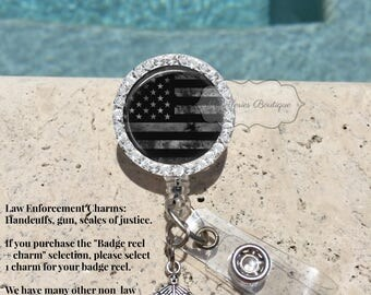 Bling Thin Gray Line Badge Reel,Corrections Badge Holder,Corrections Badge Reel,Gray Lives Matter,Retractable Badge Holder,Personalize,MB303