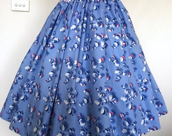 Cute 50s Criso Cotton Blue Floral Skirt / Small
