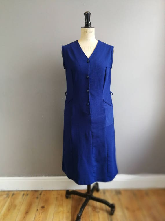 60s navy munimalist dress // retro polyester shirt dress // navy vintage day dress // mod dress // 1960s plain dress