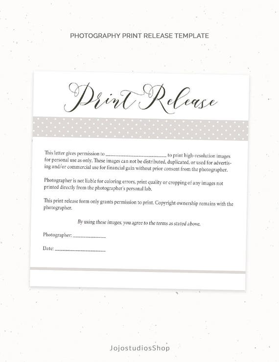 Wonderful Photography Print Release Form Template, Photography Template, Photography Print  Form, Print Release Form, Photography Form, Pr001