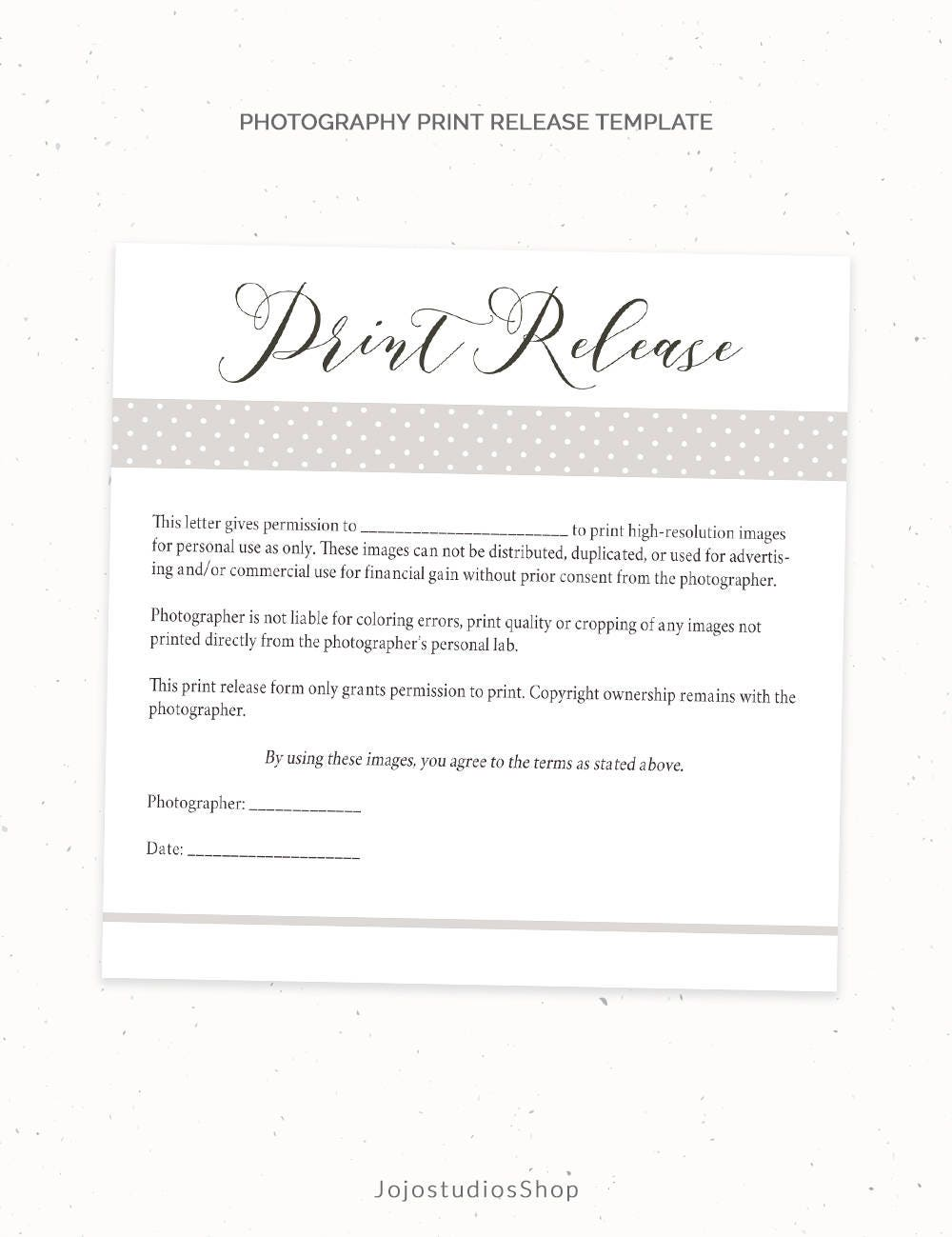 Photography print release form template photography template for Photography permission form template
