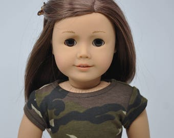 Camo Camouflage Short Sleeve Crop Top 18 Inch Doll Clothes made to fit dolls such as American Girl
