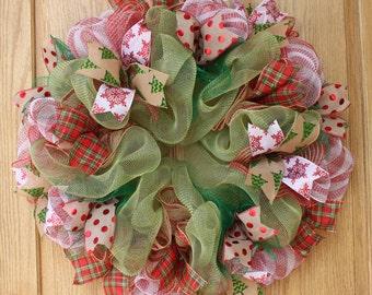christmas wreath, christmas decorations, front door wreath, hand made wreath, burlap wreath, home decor, welcome wreath, holiday wreath,