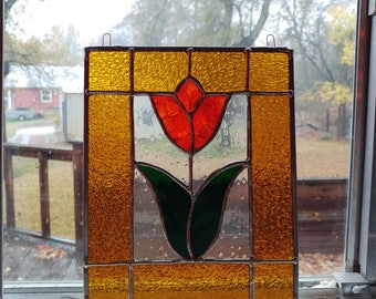 Tulip Amber/Orange Stained Glass