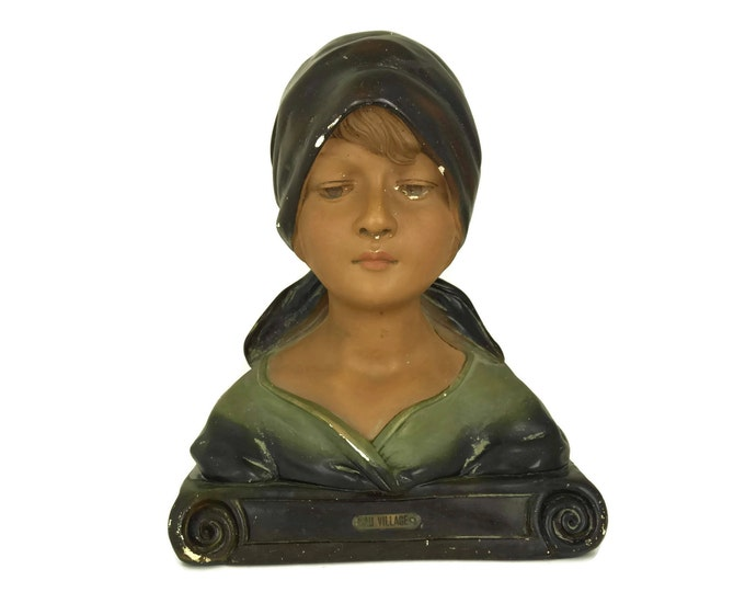 "Antique Girl Portrait Bust Statue "" Au Village "". Rustic French Plaster Art Figurine. Child Head Sculpture Nursery Decor."