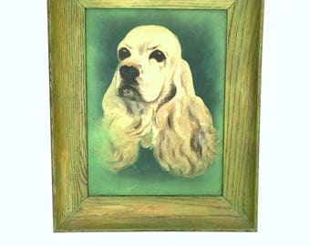 Vintage Pet Portrait Cocker Spaniel Dog Painting