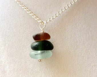 Seaham sea glass seaglass pendant necklace mermaids tears uk English stack stacking ocean beach silver plated  925 sterling gift for her