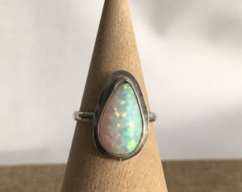 Opal Ring, White Cultured Opal Teardrop Sterling Silver Ring Size 6.5