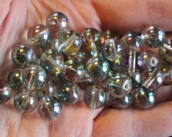 42 full rainbow electroplated glass beads, round and smooth, multi colored, 10 mm, hole 1 mm