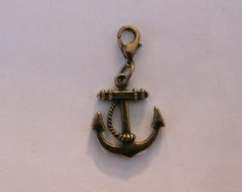 Charm bronze anchor clasp charm