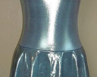 Metalic Blue Spandex Figure Skating Dress