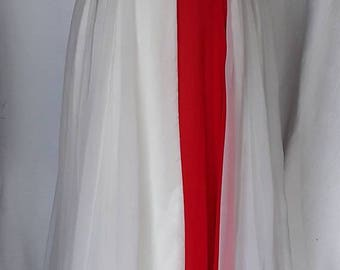 59s Vintage/ 50s Ballgown /  Red and White Beaded Chiffon Long Dress / Size Small