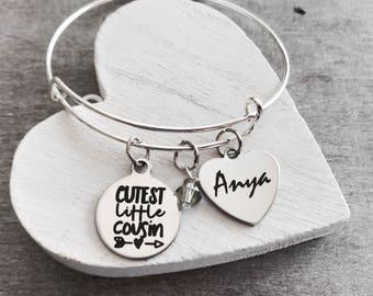 Cousin, Cutest little cousin, Gift for Cousin, Cousin Bracelet, Cousin Bangle, Silver Bracelet, Charm Bracelet, Teenager, Silver Jewelry