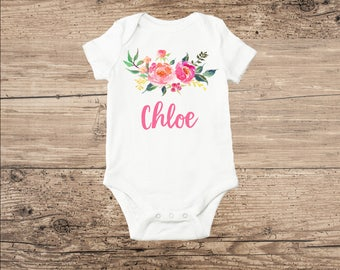 Personalized Baby Clothes, Watercolor Flower Bouquet with Monogram