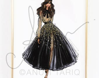 Fashion Illustration Print, Elie Saab Couture, 11x14""