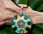 Moss Agate Orgone Pendant -  Pentacle / Pentagram - Handmade Healing Jewellery, Spiritual Gift, Healer Necklace - Large