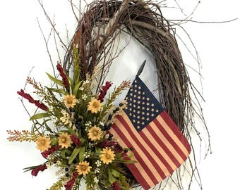 Americana Wreath, Patriotic Wreath, Memorial Day Wreath, 4th Of July Wreath, Flag Wreath, Birch Wreath, Rustic Wreath, Prim Wreath, USA