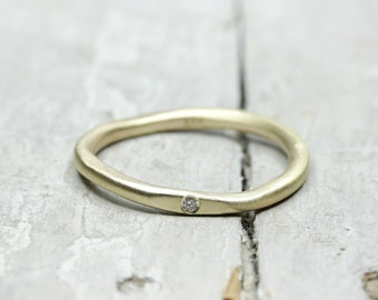 333 Gold stacking ring with diamond, collection ring, ring, engagement ring, brilliant ring organic shape, ring of gold 8k