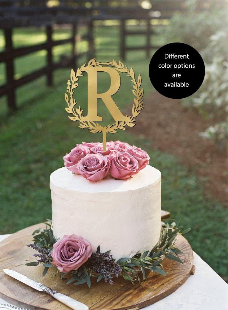 Letter R Monogram Wedding Cake Topper Elegant Toppers Initials