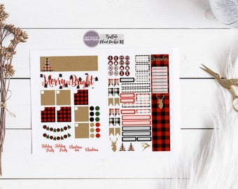 Buffalo Plaid Christmas Kraft Paper Monthly Travelers Notebook Kit Planner Stickers *Fits AnniePlans Monthly