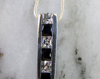 Sterling Silver Black and White CZ necklace - FREE POSTAGE