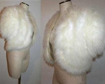Vintage White Marabou Ostrich Feather SHRUG / BOLERO Jacket / wedding / stage / Small