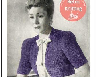 1940s Chenille Bolero Knitting Pattern - PDF Instant Download
