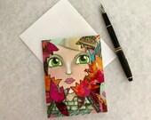 Note card. Art card. Gree...