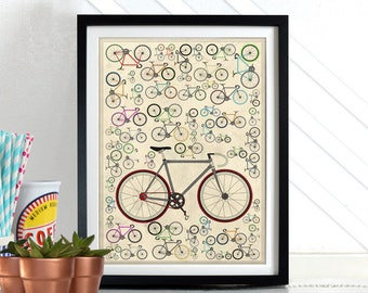 Fixed Gear Bike Bicycle Bikes Cycling Wall Art Print Poster Home Décor