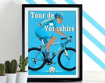 Tour de Yorkshire Bicycle Bike Cycling Poster Wall Art Print Home Décor York cycle race