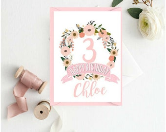 Personalised Floral Wreath Happy Birthday Card | Children's Birthday Card | Age Birthday Card | Card for Her