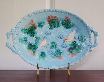 Birds and Grapes Majolica Tray with Handles, Highmount MBD Western Germany Robin's Egg Blue Embossed Oval Platter with Birds and Grapes