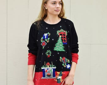 Festive Beaded Christmas Sweater, Not so Ugly Christmas Jumper, Tree, Presents, Wreath, Fireplace Stockings, Vintage Holiday Sweater