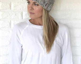 Chunky Knit Cable Slouchy Hat with Fur Pom | Grey | THE TRECCIA