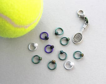 ANYONE FOR TENNIS? Ltd edition set of stitch markers - fabric & notions, knitting stitch marker, knitting supplies, knitting markers
