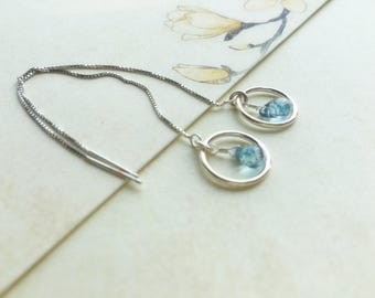 Chains through Czech bead blue gray water drop ring 925 Sterling Silver earrings. Sliding chain earrings every day