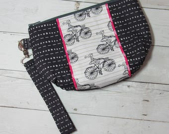 Wristlet / Clutch / Purse w/ Detachable Wrist Strap in Art Gallery Cherie Fabric - Bicycle, Girl, Biking, Credit Card Pockets, Polka Dots