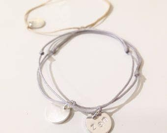 Silver Charm Bracelet - Green, Beige, Grey link