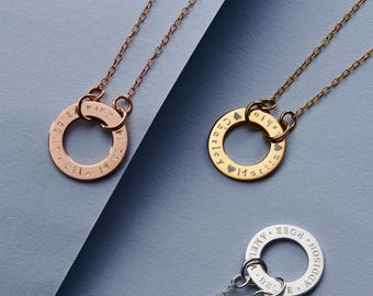 Personalised Circle Link Necklace - Family Circle Necklace - Roman Numerals Necklace - Circle Necklace - Gift For Her