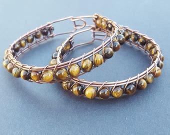 Tigers Eye Bracelet, Tigers Eye Bracelet for Men, Man Bracelet Copper, Copper Bracelets, Handmade Wire Wrapped Jewelry, Wired Wrap Bracelets