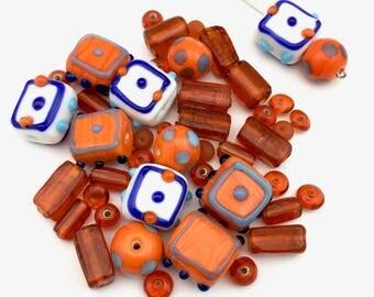 50 glass beads orange halloween mix,6mm to 17mm #PV 109