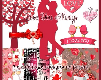 Love You Always - Love Themed Digital Images for Scrapbook and Paper Crafts.
