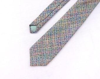Men's Rainbow Tie / Abstract Print Tie / Groom's Colorful Tie / Men's Skinny Tie / Wedding Tie / Unique Groomsmen Tie / Gifts for Men