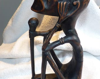 """Vintage Hand Carved African Art Sculpture -- Interesting -- Possibly Luba Tribe, Congo -- 10"""" High"""